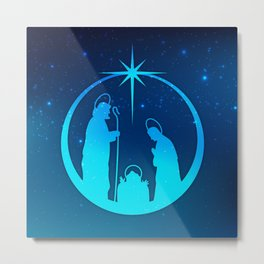 Nativity Scene Silhouette  Metal Print