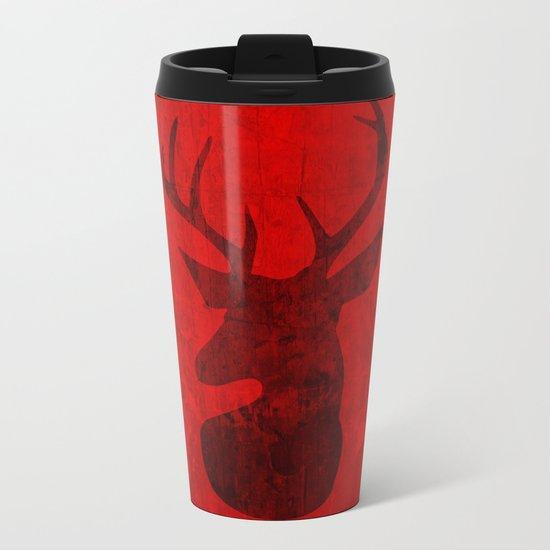 Red Deer Stag Design Metal Travel Mug