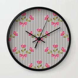 Flower bouquet on a gray striped background. Wall Clock