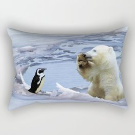 Cute Polar Bear Cub & Penguin Rectangular Pillow