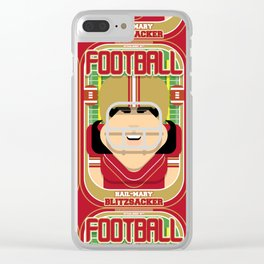 American Football Red and Gold -  Hail-Mary Blitzsacker - Amy version Clear iPhone Case