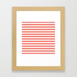 LIVING CORAL HORIZONTAL STRIPES PANTONE COLOR OF THE YEAR 2019 Framed Art Print