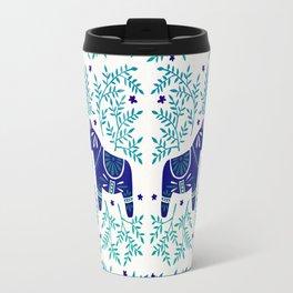 Swedish Dala Horses – Navy & Blue Palette Travel Mug