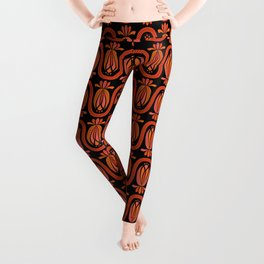 Abstract Stripey Floral – Reds on Black (pattern) Leggings