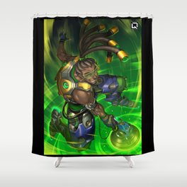 over lucio watch Shower Curtain