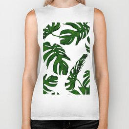 Simply Tropical Palm Leaves in Jungle Green Biker Tank