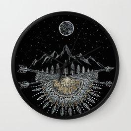 Moon and Stars Night Sky Mountain Range Arrow Mandala Wall Clock