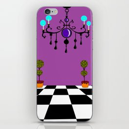 An Elegant Hall of Mirrors with Chandler and Topiary in Purples iPhone Skin