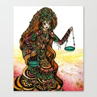 astrology Canvas Prints featuring Astrology Illustration Series-Libra by Erina Dempsey