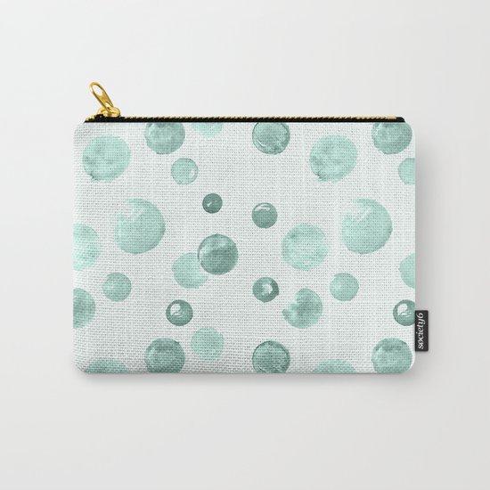 Aqua Sky Watercolors Polka Dots Carry-All Pouch