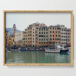 Pastel houses with colorful boats   Amalfi coast travel photography   Pastel sea side in, Italy   Art Print Serving Tray
