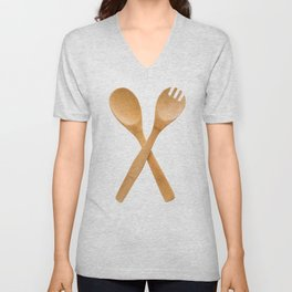 Crossed fork and spoon sign Unisex V-Neck