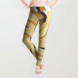 Geometric vane decor. abstract. colorful. gold. white. Leggings