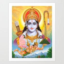 Lord Shree Ram Krishna Poster Print Buddism Yoga Meditation Hindu Art Art Print