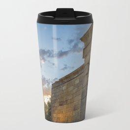 Sunset on egyptian Debod Temple in Madrid Travel Mug