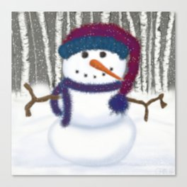 Puffy The Snowman Canvas Print