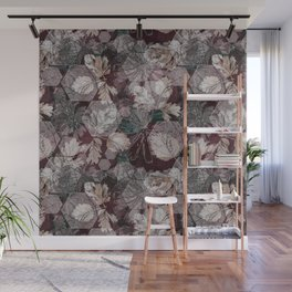 Hexagons, leaves and flowers Wall Mural
