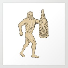 Hercules With Bottled Up Angry Octopus Drawing Art Print