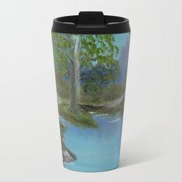 Cabin by stream Travel Mug