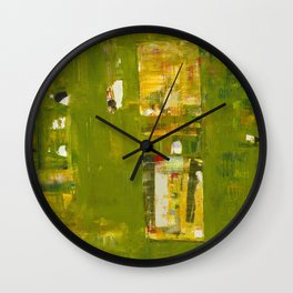Iodine Green Abstract Art Modern Print Wall Clock