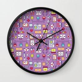 Proud To Be a Nurse Pattern / Purple Wall Clock