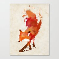 watercolor Canvas Prints featuring Vulpes vulpes by Robert Farkas
