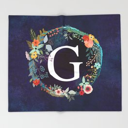Personalized Monogram Initial Letter G Floral Wreath Artwork Throw Blanket