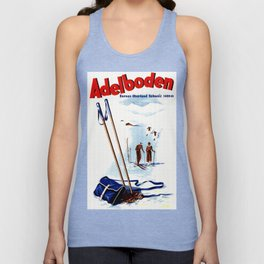 Vintage Adelboden Switzerland Ski Travel Unisex Tank Top