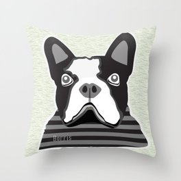 borris the french bulldog Throw Pillow
