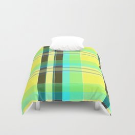 Yellow Aqua Brown and Green Plaid Duvet Cover