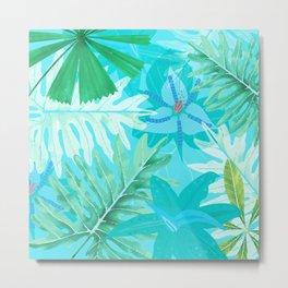 My blue abstract Aloha Tropical Flower Jungle Garden Metal Print
