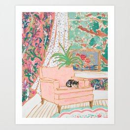 Catnap - Tuxedo Cat Napping in Chair by the Window Art Print
