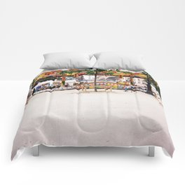 Photograph of Paris summer fair outside of St Honore Hotel society6 zolliophone shop Comforters