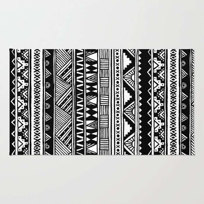 aztec index and dsc rug white print black size inches bohemian navajo tribal geometrical cotton