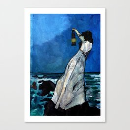 She lived almost alone in a sea of storms. Canvas Print