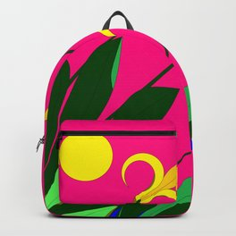 Yellow Lilies with the Sun in the Pink Sky Backpack