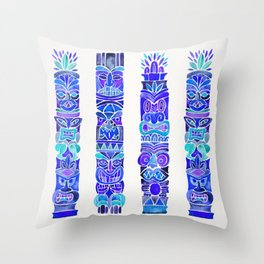 Tiki Totems – Indigo Palette Throw Pillow