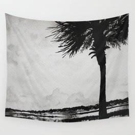 Palm Tree on the Marsh Wall Tapestry