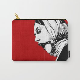 Lady Portrait on Red. Carry-All Pouch