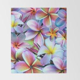Rainbow Plumeria Throw Blanket