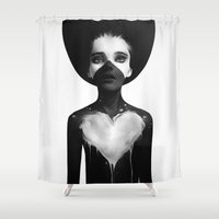 hot Shower Curtains featuring Hold On by Ruben Ireland