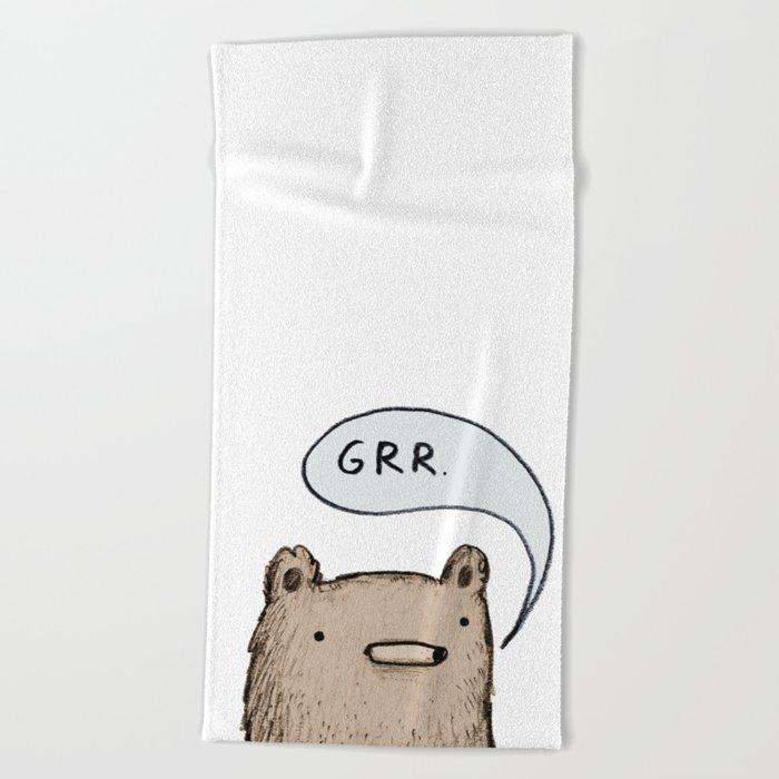 Growling Bear Beach Towel