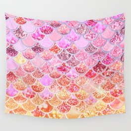 Rosegold & Gold Trendy Glitter Mermaid Scales Wall Tapestry