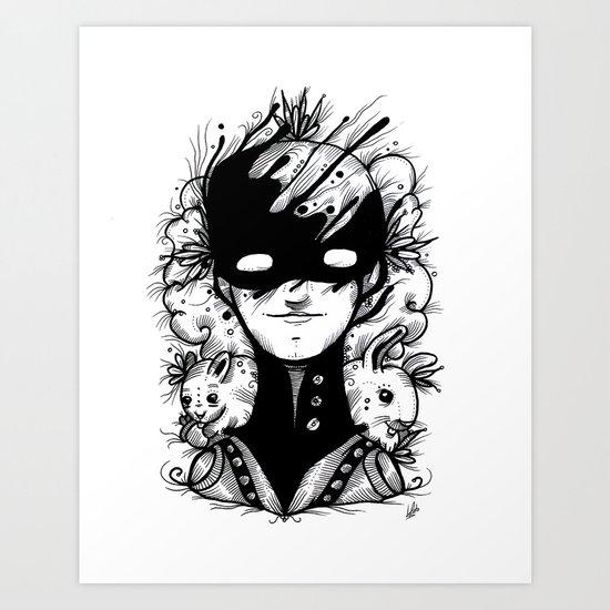Guardians of the Woods (Black & White Version) Art Print