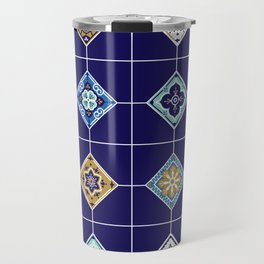 Talavera Mexican Tile – Navy & Bronze Palette Travel Mug