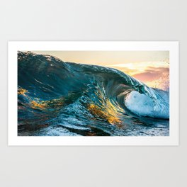 Wave sunset and reflexion Art Print