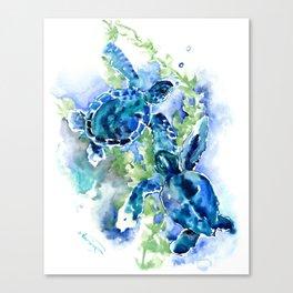Sea Turtle Turquoise Blue Beach Underwater Scene Green Blue design Canvas Print
