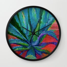 IMPRESSIONIST TURQUOISE BLUE DESERT AGAVE CACTI Wall Clock