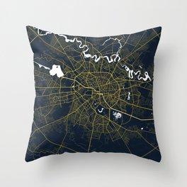Bucharest City Map Romania - Gold Art Deco Throw Pillow