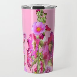Puce Purple Color, Pink flowers Art Travel Mug
